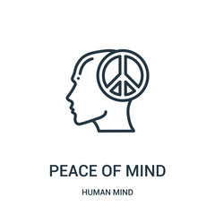 peace of mind icon vector from human mind collection. Thin line peace of mind outline icon vector illustration. Linear symbol for use on web and mobile apps, logo, print media.