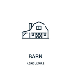barn icon vector from agriculture collection. Thin line barn outline icon vector illustration. Linear symbol for use on web and mobile apps, logo, print media.