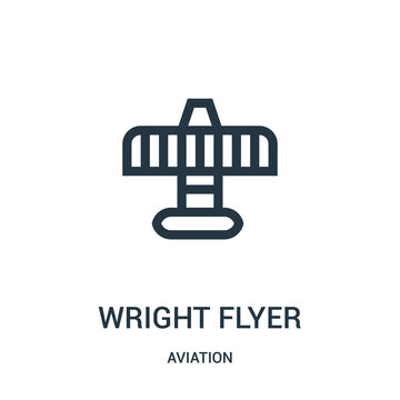 wright flyer icon vector from aviation collection. Thin line wright flyer outline icon vector illustration. Linear symbol for use on web and mobile apps, logo, print media.