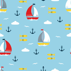 seamless pattern with cartoon boats
