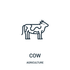 cow icon vector from agriculture collection. Thin line cow outline icon vector illustration. Linear symbol for use on web and mobile apps, logo, print media.