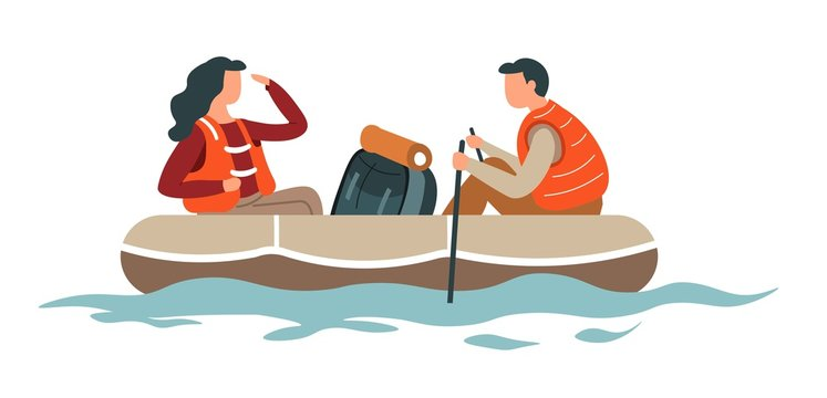 Rafting or hiking man and woman couple backpack and boat
