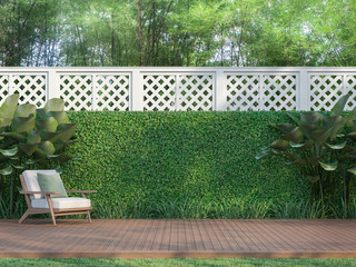 Outdoor wood terrace in the garden 3d render,  There is a wooden floor terrace,white fence,furnished with wood and white fabric furniture.
