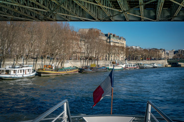 The Parisian barges and French flag