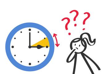 Zeitumstellung, Frau schaut auf Uhr mit Fragezeichen