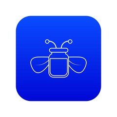 Jar of bee honey icon blue vector isolated on white background