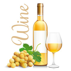 Bottle and glass of sweet white wine with bunch grapes. Vector illustration