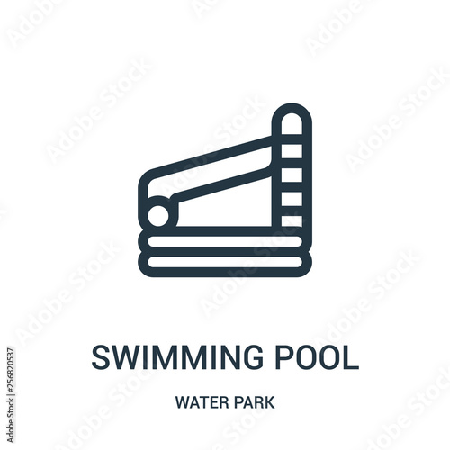 swimming pool icon vector from water park collection. Thin line ...