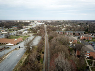 An aerial view looking east along a railroad track that briefly forms the boundary line between Congressional Districts 6 and 13 in Greensboro