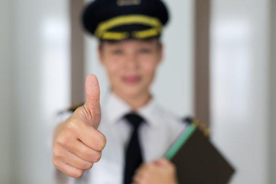 Professional woman pilot portrait.