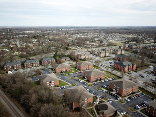 An aerial view looking southeast from a railroad track that briefly forms the boundary line between Congressional Districts 6 and 13 in Greensboro