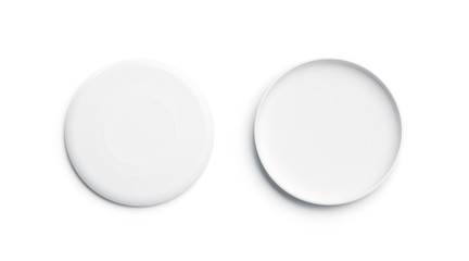 Blank white plastic frisbee mockup, isolated, front and back, 3d rendering. Empty frisbie for throwing mock up, top view. Clear round toy for playing with dog tempalate.
