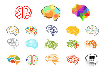 Human brains in various styles. Mind icons set. Elements for logo, web site, app, print, presentation, advertising poster or banner. Colorful vector illustration