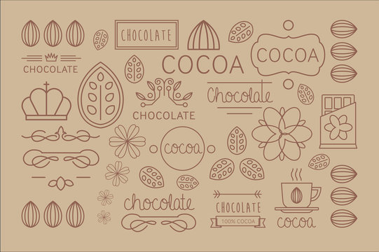Vector set of linear cocoa labels. Original decorative elements for chocolate or candy packaging. Tasty beverage. Aromatic hot drink. Design for card, banner, print
