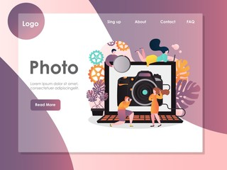 Photo vector website landing page design template
