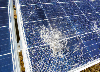 Broken destroyed solar panel