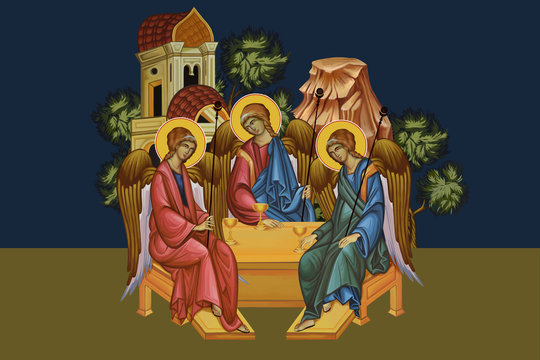 Trinitarian. Father, Son, Holy Ghost. Illustration - fresco in Byzantine style.