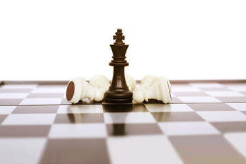 Picture of pawns on the chess board game. Isolated on the white background.