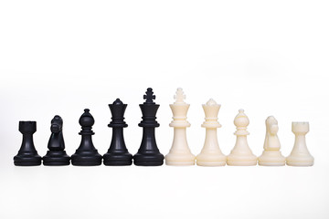 Chess pawns on the white background.