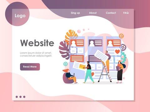 Web services vector website landing page design template