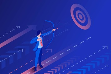 Isometric Businessman Aiming at the Target