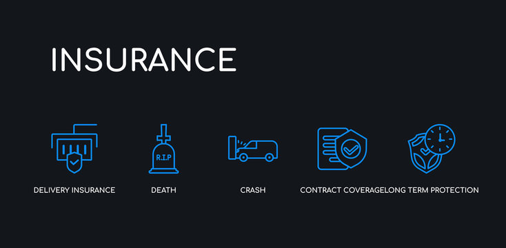 5 outline stroke blue long term protection, contract coverage, crash, death, delivery insurance icons from insurance collection on black background. line editable linear thin icons.