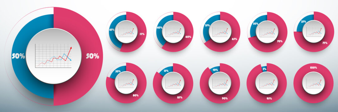 Pie chart set from 0 to 50/50 percents ready to use for web design, user interface (UI) or infographic. Two colors - rose and blue