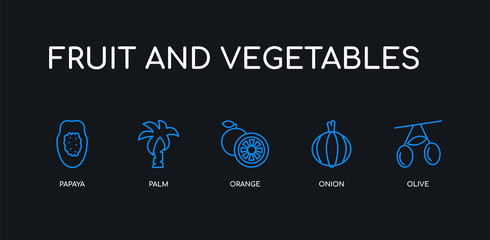 5 outline stroke blue olive, onion, orange, palm, papaya icons from fruit and vegetables collection on black background. line editable linear thin icons.