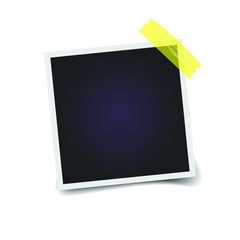 Empty photo frame on a transparent background. Yellow scotch tape. Vector illustration.