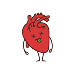 Dead human heart emoji color icon