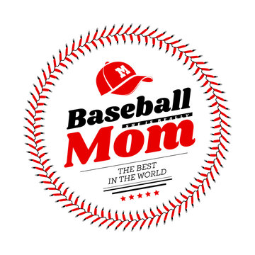 Baseball mom emblem with baseball lacing and a hat on white background. Vector