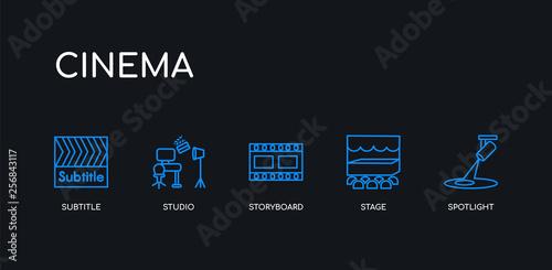 5 outline stroke blue spotlight, stage, storyboard, studio