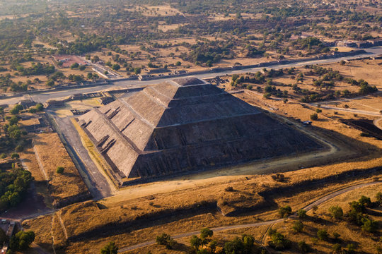 Pyramid of the Sun at the Ancient Aztec City of Teotihuacan, Mexico, Aerial View