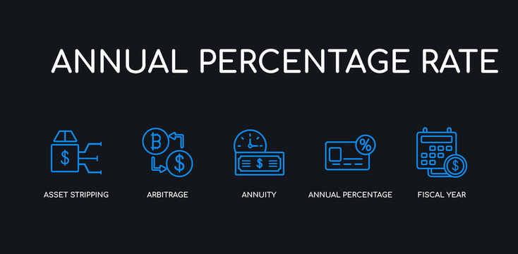 5 outline stroke blue fiscal year, annual percentage rate (apr), annuity, arbitrage, asset stripping icons from annual percentage rate collection on black background. line editable linear thin