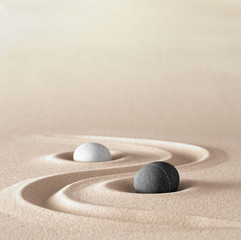 Door stickers Stones in Sand zen garden meditation stone