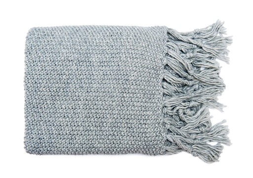 Soft moss knit blanket isolated on white background