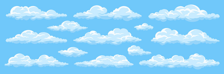 Fototapeta Set of cartoon clouds obraz