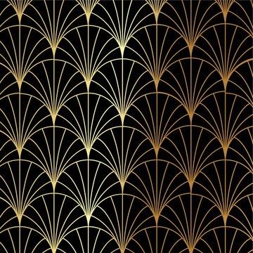 Art Deco gold palm, palmette pattern - Great Gatsby, 1920s theme vector