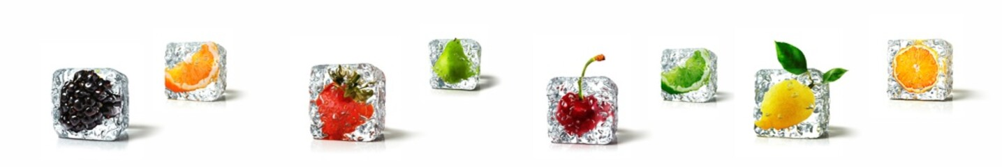 Fruits in ice cubes isolated in white background