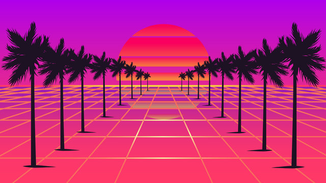 Retrowave sun and palm trees 1980s style