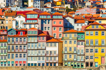 Old historical houses of Porto. Rows of colorful buildings in the traditional architectural style, Portugal