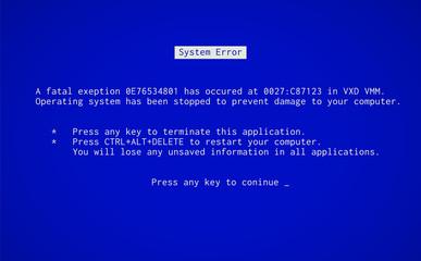 Fototapeta Blue Screen of Death. Operating system crash error message. BSOD malfunction report. obraz