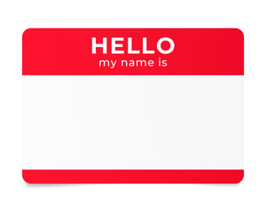 Red name tag. Hello my name is - label.