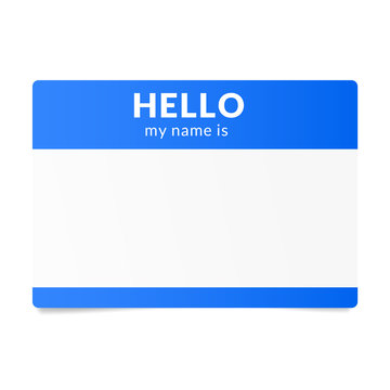Blue name tag sticker. Speed dating ice breaker