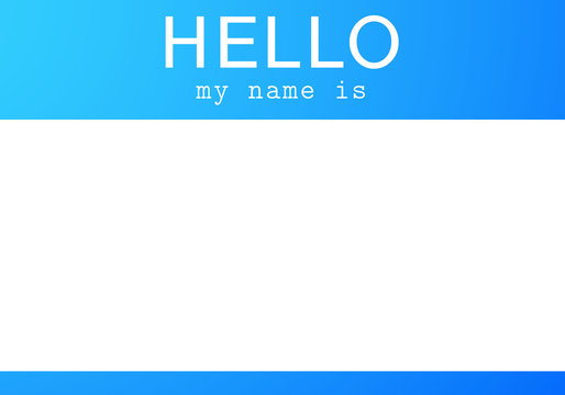 Blue name tag. Hello my name is - sticker.