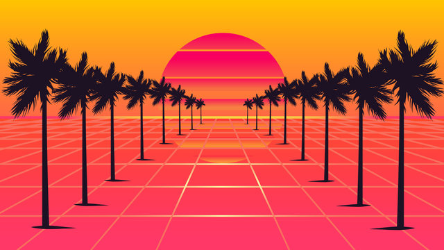 palm trees 1980s style