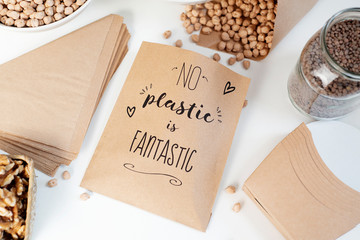 text no plastic is fantastic in a paper bag