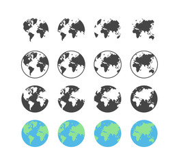 Set of earth globe icons in flat and linear design on a white background