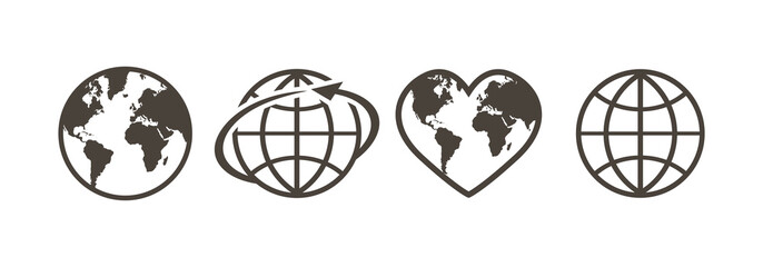 Set of earth globe icons in linear design on a white background