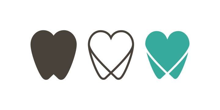 Tooth icon. Dental icons. Teeth in flat and linear design. - vector
